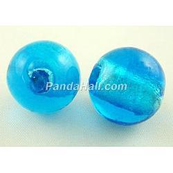 Perles en verre d'argent feuille manuelles, rond, bleu foncé, environ 8 mm de diamètre, Trou: 1.5mm(X-SLR8MM11J)
