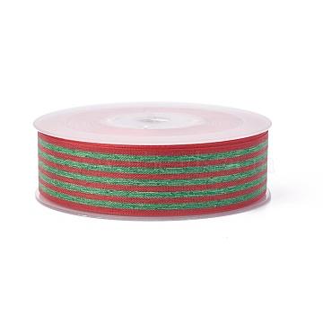 Polyester Ribbon, Striped Pattern, DarkOliveGreen, 1-1/2inches(38mm); about 100yards/roll(91.44m/roll)(SRIB-L049-38mm-C003)