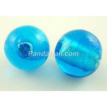 8mm DeepSkyBlue Round Silver Foil Beads