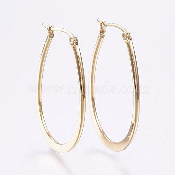 304 Stainless Steel Hoop Earrings, Hypoallergenic Earrings, Flat Oval, Golden, 44~47x1~2mm, Pin: 0.7x1mm(X-EJEW-F105-30G)