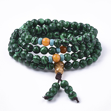 3-Loop Wrap Style Buddhist Jewelry, Synthetic Malachite Mala Bead Bracelets, Stretch Bracelets, Round, 2-5/8inches(6.7cm)(BJEW-S140-15D)