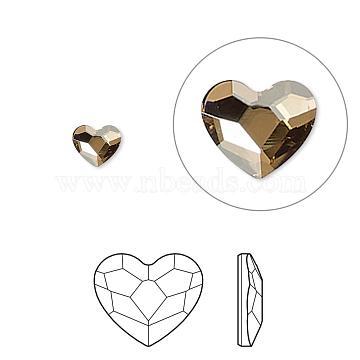 Austrian Crystal Rhinestone, 2808, Crystal Passions, Foil Back, Faceted Heart, 001GSHA_Crystal Golden Shadow, 14x12x3mm(2808-14mm-001GSHA(F))