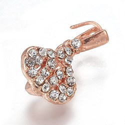 Pendentifs de bails de cheville en laiton strass, pour la moitié de perles percées, or rose, 18x10x6mm, trou: 3x4 mm; broches: 0.8 mm(KK-F773-03RG)