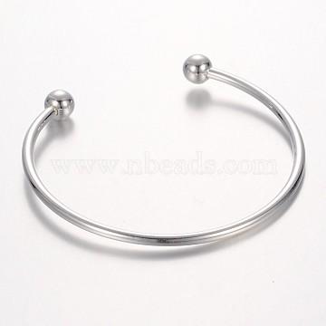 Brass Torque Bangle Cuff Bangle Making, Platinum, 56x64mm(BJEW-P062-03)