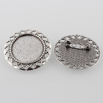Vintage Alloy Carved Rhombus Brooch Cabochon Bezel Settings, Cadmium Free & Lead Free, with Iron Pin Back Bar Findings, Antique Silver, Flat Round Tray: 25mm; 37x2.5mm; Pin: 0.8mm(X-PALLOY-O038-39AS)