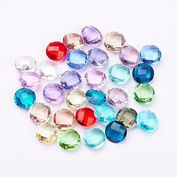 8mm Mixed Color Flat Round Glass Cabochons