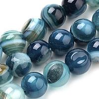 натуральные полосатые агатовые / полосатые агатовые бусинки, окрашенный, вокруг, голубой, 8 mm, отверстия: 1 mm, о 47 шт / прядь, 14.96 дюймы (38 см)