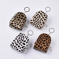PVC Clutch Bags, Change Purse, with Iron Ring, Leopard Print Pattern, Mixed Color, 95~98x74~76x52~54mm(ABAG-S005-22)