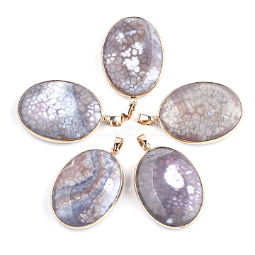 Golden RosyBrown Oval Fire Agate Pendants