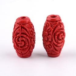 Perles de cinabre sculptées, baril, firebrick, 17.5x9.5x9.5mm, Trou: 2.5mm(CARL-Q004-76B)