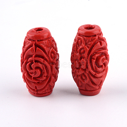 Carved Cinnabar Beads, Barrel, FireBrick, 17.5x9.5x9.5mm, Hole: 2.5mm(CARL-Q004-76B)
