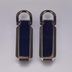 Alloy Zipper Puller, Garment Accessories, Gunmetal, 28.5mm, Hole: 5x5.5mm(PALLOY-WH0065-14A-01)