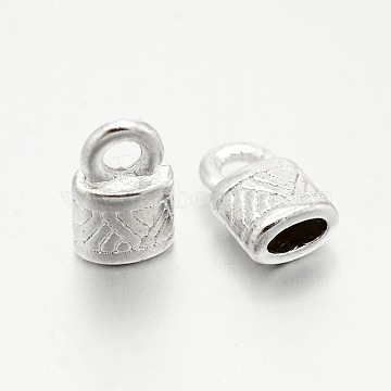 Tibetan Style Alloy Cord Ends, End Caps, Lead Free and Cadmium Free, Silver Color Plated, 10x6.5x4.5mm, hole: 2.5mm(X-K0PB5021)