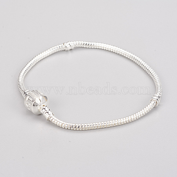 Brass European Style Bracelets, with Love Sign Brass Clasps, Silver Color Plated, about 18cm long, 3mm thick, clasp: 8mm long, 10mm wide(PPJ013Y-S)