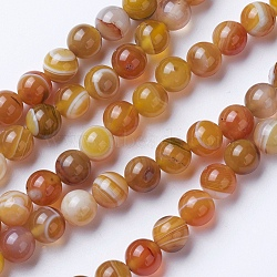 Natural Grade A Striped Agate/Banded Agate Beads Strands, Dyed & Heated, Round, Peru, 8~8.5mm, Hole: 1.2mm; about 39pcs/strand, 14.56''(37cm)