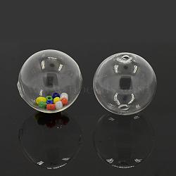 Perles de globe en verre soufflé faites à la main, rond, clair, 30mm, Trou: 2mm(BLOW-TA0001-02A)
