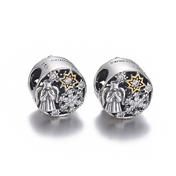 Hollow 925 Sterling Silver European Beads, Large Hole Beads, with Cubic Zirconia, Carved with 925, Flat Round with Word Merry Christmas, for Christmas, Multi-color, 11x9mm, Hole: 4.5mm(OPDL-L017-005TASG)