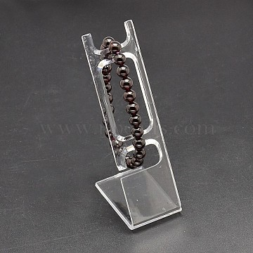 Rectangle Organic Glass Jewelry Bracelet Displays, L-type Watch Bracelet Display Stand, Clear, 10.8x3.4x5cm(X-BDIS-L001-05)