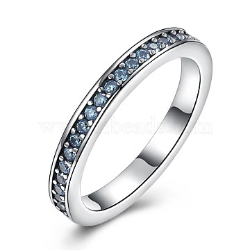 925 Thai Sterling Silver Finger Rings, with Cubic Zirconia, Carved with S925, Size 6, LightSkyBlue, Antique Silver, 16.5mm(RJEW-BB30793-G-6)
