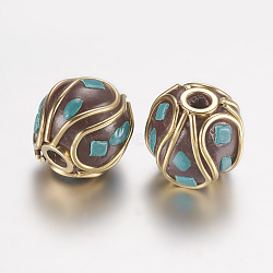 Handmade Indonesia Beads, with Alloy Findings, Round, Unplated, Turquoise, 13x12mm, Hole: 1mm(IPDL-F020-01A)