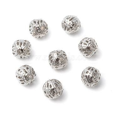 Filigree Beads, Brass, Round, Nickel Free, Platinum Color, Size: about 8mm in diameter, hole: about 0.5mm(X-EC121-NF)