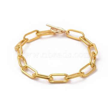 Unwelded Iron Paperclip Chain Bracelets, with 304 Stainless Steel Toggle Clasps, Golden, 7-7/8 inches(20cm)(X-BJEW-JB05044-01)