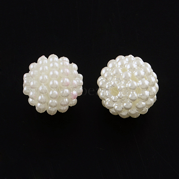 ABS Plastic Imitation Pearl Beads, Berry Beads, Round Combined Beads, Creamy White, 12mm, Hole: 1.5mm(X-MACR-R553-12mm-04)