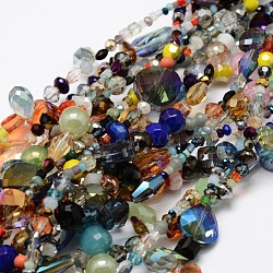 Electroplate Glass Bead Strands, Mixed Shapes, Mixed Color, 2~16x2~16mm, Hole: 1~2mm; about 15.74inches