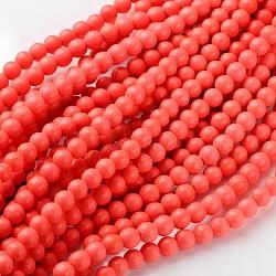 """Chapelets de perles en corail synthétique, teint, rond, rose, environ 6 mm de diamètre, trou: environ 0.8 mm; 15~16""""(X-GSR6mmC052)"""