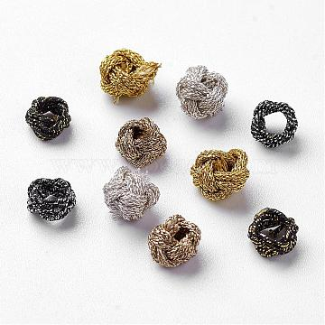 Polyester Weave Beads, Mixed Color, 6x5mm, Hole: 3mm; about 200pcs/bag(WOVE-N004-M)