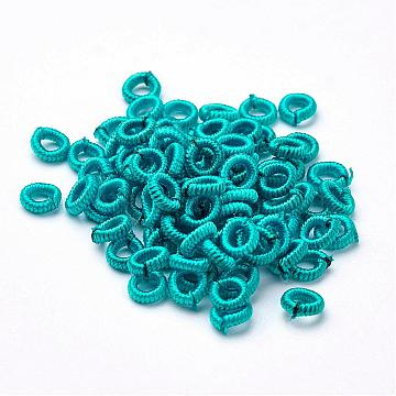 6mm MediumTurquoise Ring Polyester Beads