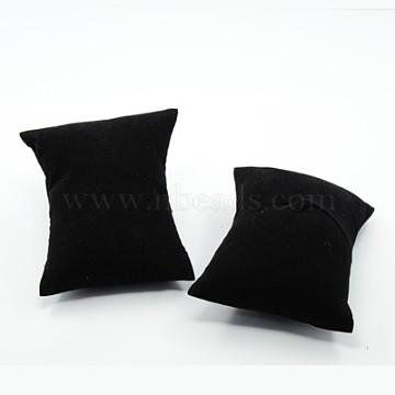 Velvet Pillow Jewelry Bracelet Watch Display, with sponge, Rectangle, Black, 88x76x43mm(BDIS-I001-01)