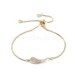 bracelets réglables en laiton à micro-pavé de zircone cubique, bracelets bolo, avec boîte en carton, ailier, or, 9-1 / 2 (240 mm)(BJEW-JB04982-02)