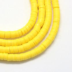 Perles artisanales à l'argile polymère artisanales, disque / rond plat, perles heishi, jaune, 3x1 mm, trou: 1 mm; environ 380~400 perle / brin, 17.7(X-CLAY-R067-3.0mm-22)