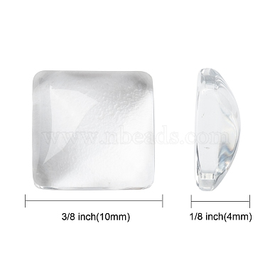 Transparent Clear Glass Square Cabochons(X-GGLA-A001-10mm)-2