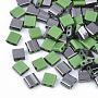 2-Hole Glass Seed Beads, Half Gunmetal Plated Colours, Square, Light Green, 5x4.5~5.5x2~2.5mm, Hole: 0.5~0.8mm, about 1180pcs/bag