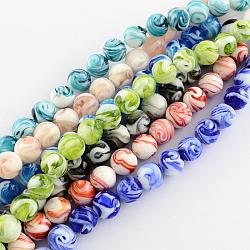 Perles vernissées manuelles, rond, couleur mixte, 14mm, Trou: 1~2mm(X-LAMP-R111-M)