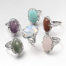 Réglable ovale pierres précieuses bagues de large bande, avec les accessoires en laiton de tonalité de platine, pierre mixte, 17mm(RJEW-L062-01)