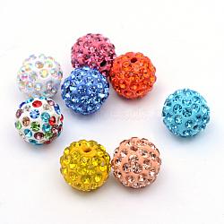 Perles en strass pavé d'argile polymère, perles de boule de disco, couleur mixte, 12mm, Trou: 1.5mm(X-RB-Q197-12mm-M)