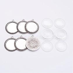 Sets de accessoires pour bricolage de pendentif, avec cabochon supports pendentif en alliage, Cabochons en verre, plat rond, Sans cadmium & sans nickel & sans plomb, argent antique, 43x38x2.5mm, trou: 3mm; Plateau: 30mm; 6sets / boîte(DIY-X0269-08AS-NR)
