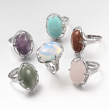 Adjustable Oval Gemstone Wide Band Rings, with Platinum Tone Brass Findings, Natural & Synthetic Mixed Stone, 17mm(RJEW-L062-01)