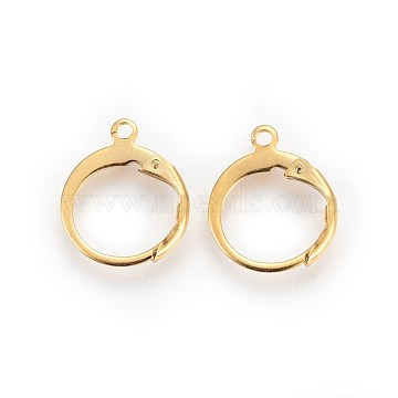 304 Stainless Steel Leverback Earring Findings, with Loop, Golden, 14.5x12.5x2mm, Hole: 1.2mm(X-STAS-I100-19G)