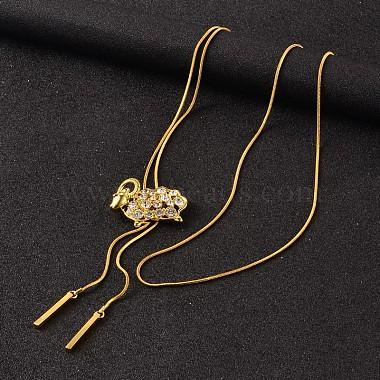 Sheep Long Adjustable Alloy Rhinestone Lariat Necklaces(NJEW-F194-04G)-2