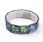 Natural Abalone Shell/Paua Shell Stretch Bracelets, Beaded Bracelets, Square, 2-1/8 inches(5.5cm)