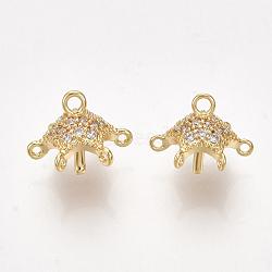 pendentifs en forme de zircon cubique en laiton, composants de lustre liens, pour perle à moitié percée, effacer, véritable plaqué or, 10x8~9 mm, trou: 0.8~1.2 mm; broches: 1 mm(KK-S350-331)