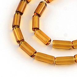 прозрачная стеклянная бусина нитей, трубка, шоколад, 15x6 mm, отверстия: 1 mm; о 22 шт / прядь, 12.5