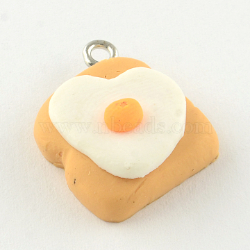 Handmade Cake Polymer Clay Pendants, with Platinum Plated Iron Findings, SandyBrown, 22x19x8mm, Hole: 2mm(X-CLAY-R060-99)