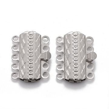 304 Stainless Steel Box Clasps, Multi-Strand Clasps, 5-Strands, 10-Holes, Rectangle with Flower, Stainless Steel Color, 19.5x15x3mm, Hole: 1.4mm(STAS-P249-03P)