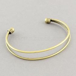 Латунь манжеты браслеты материалы, браслет заготовки, античная бронза, 67 мм(MAK-S001-SZ010AB)