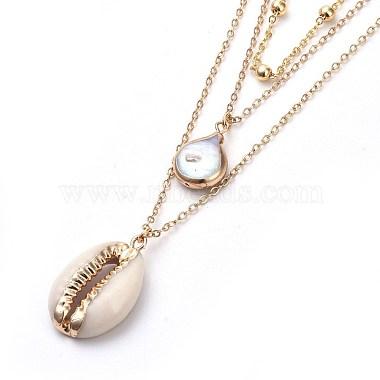 Cowrie Shell and Plated Natural Baroque Pearl Keshi Pearl Tiered Necklaces(X-NJEW-JN02389)-2